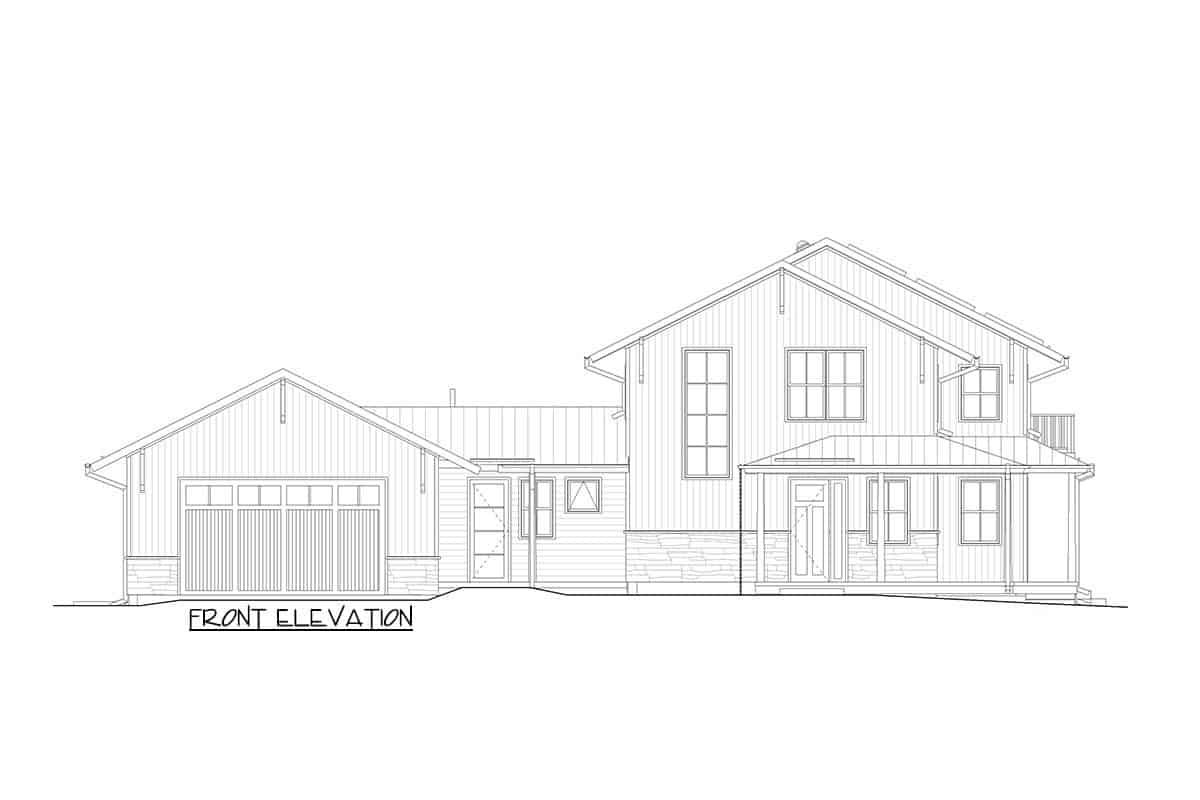 Front elevation sketch of the two-story modern craftsman farmhouse.