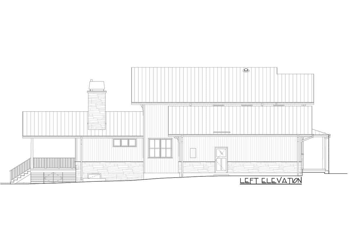 Left elevation sketch of the two-story modern craftsman farmhouse.