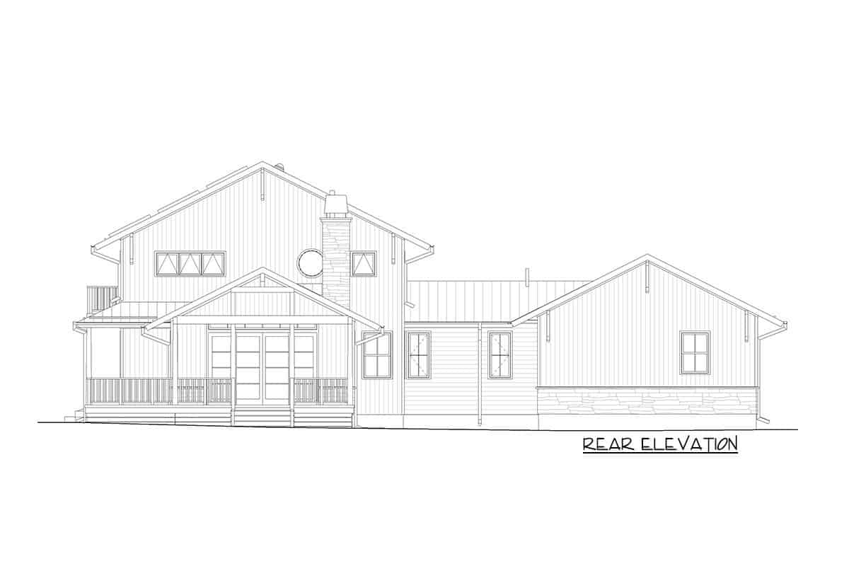 Rear elevation sketch of the two-story modern craftsman farmhouse.