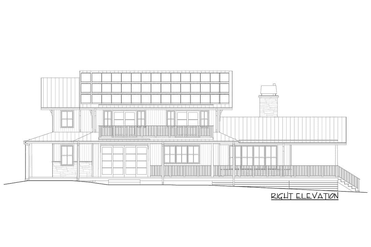 Right elevation sketch of the two-story modern craftsman farmhouse.