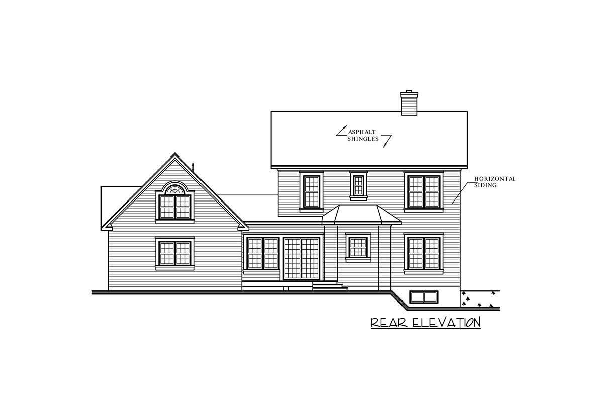 Rear elevation sketch of the two-story Victorian home.