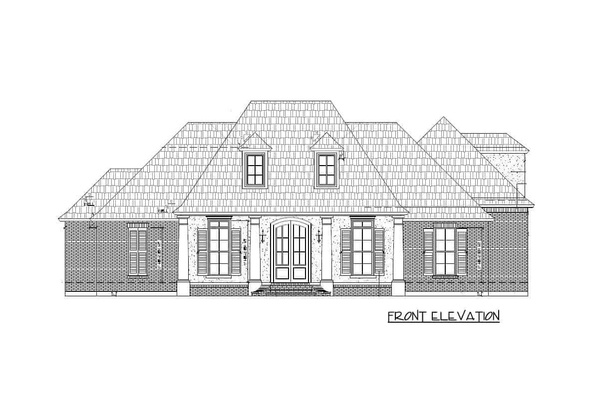 Front elevation sketch of the two-story Acadian home.