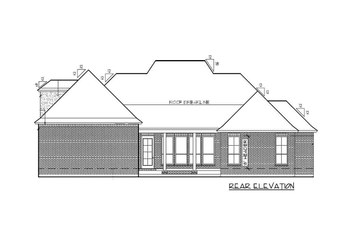 Rear elevation sketch of the two-story Acadian home.
