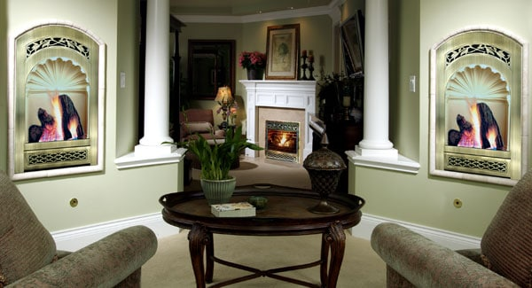 Family room with multiple seating areas and a corner fireplace that warms the room.