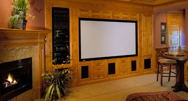 Media room with built-in cabinets, a corner fireplace, and potted plants that create a refreshing ambiance.