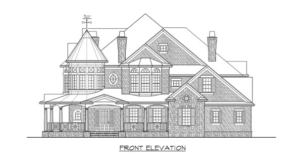 Front elevation sketch of the two-story Astoria home.