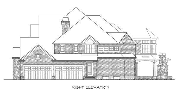 Right elevation sketch of the two-story Astoria home.
