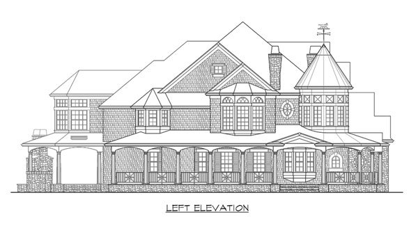 Left elevation sketch of the two-story Astoria home.