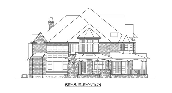 Rear elevation sketch of the two-story Astoria home.
