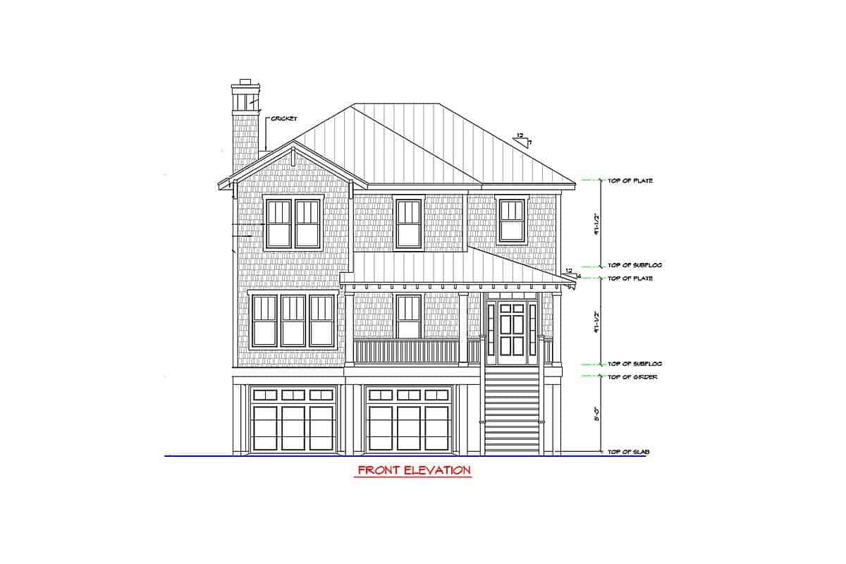 Front elevation sketch of the two-story beach-style home.