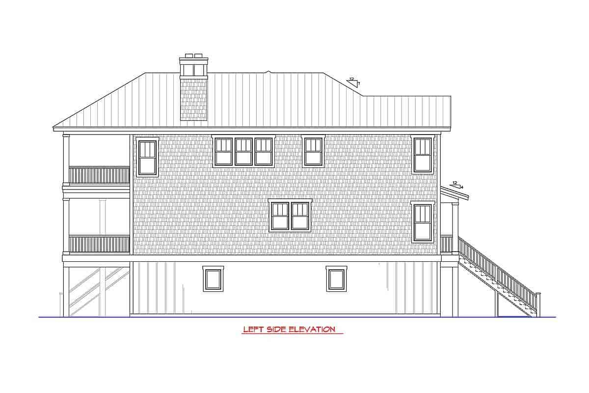 Left side elevation sketch of the two-story beach-style home.