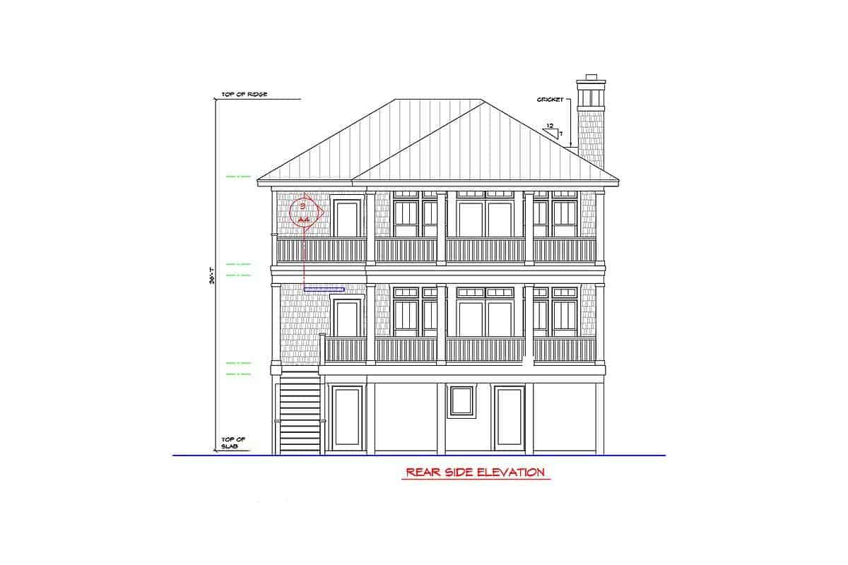 Rear side elevation sketch of the two-story beach-style home.