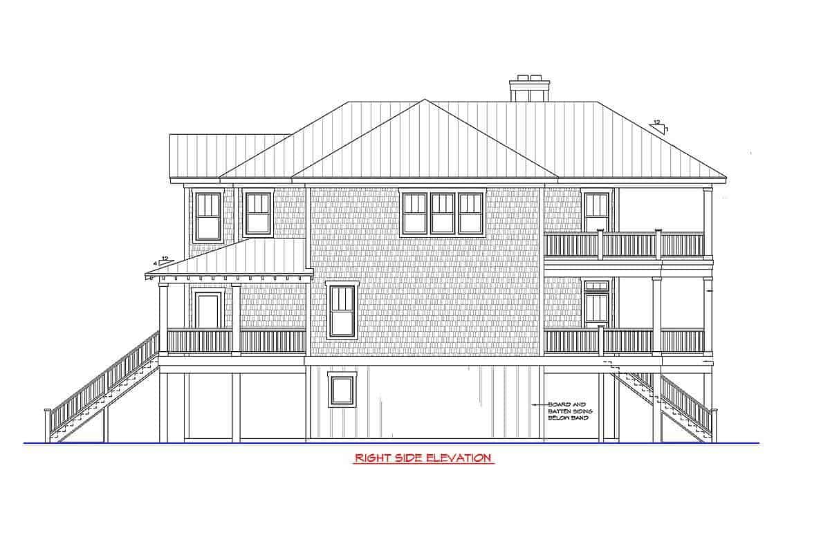 Right side elevation sketch of the two-story beach-style home.