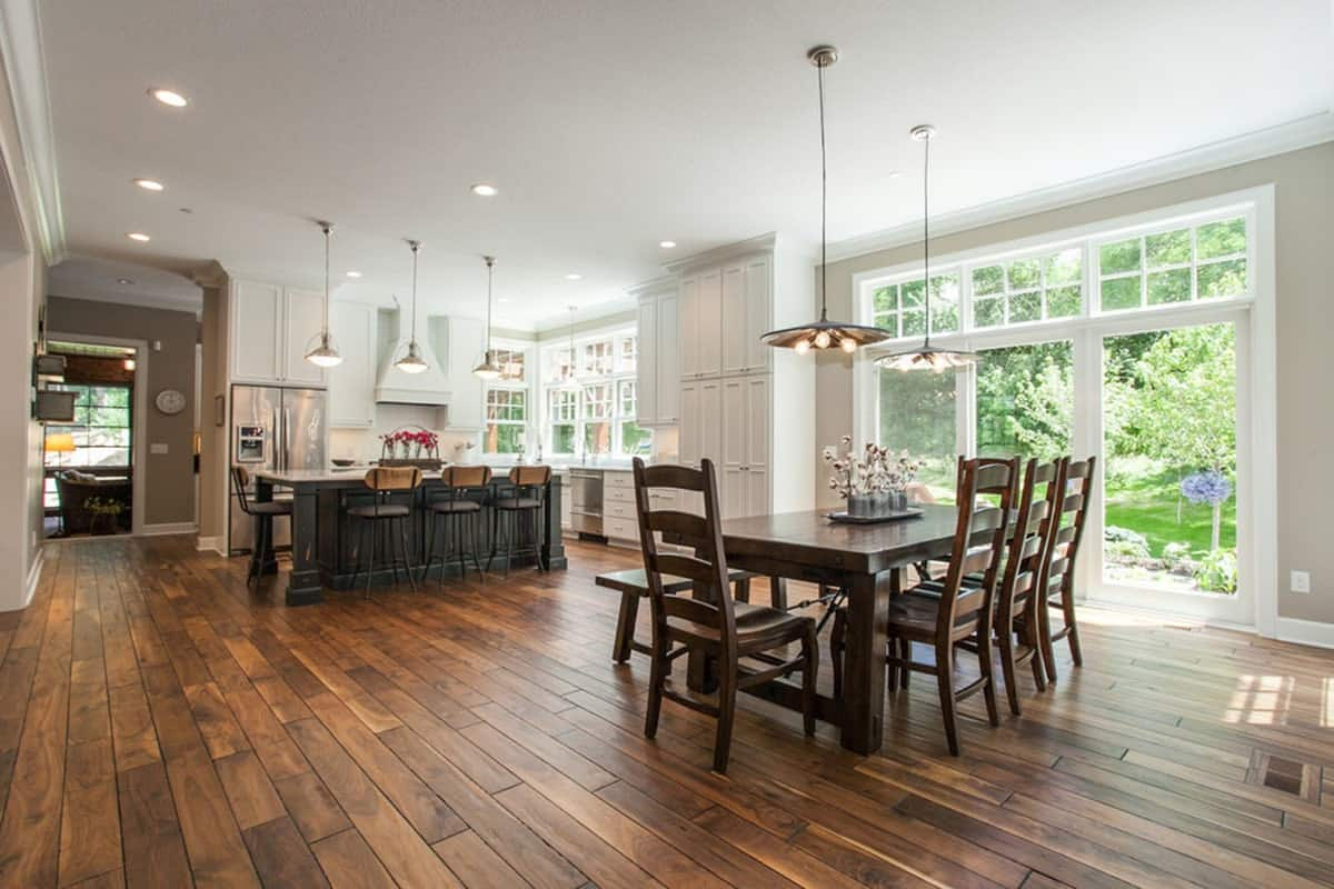 An open layout with the view of the dining area and the kitchen.