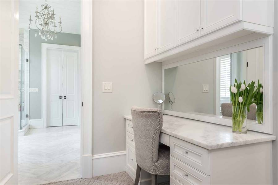 The walk-in closet sits inside the primary bathroom.