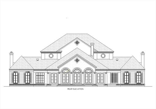 Rear elevation sketch of the two-story Magnolia Place.