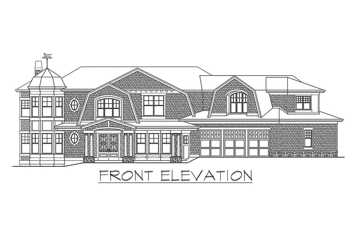 Front elevation sketch of the two-story shingle style home.
