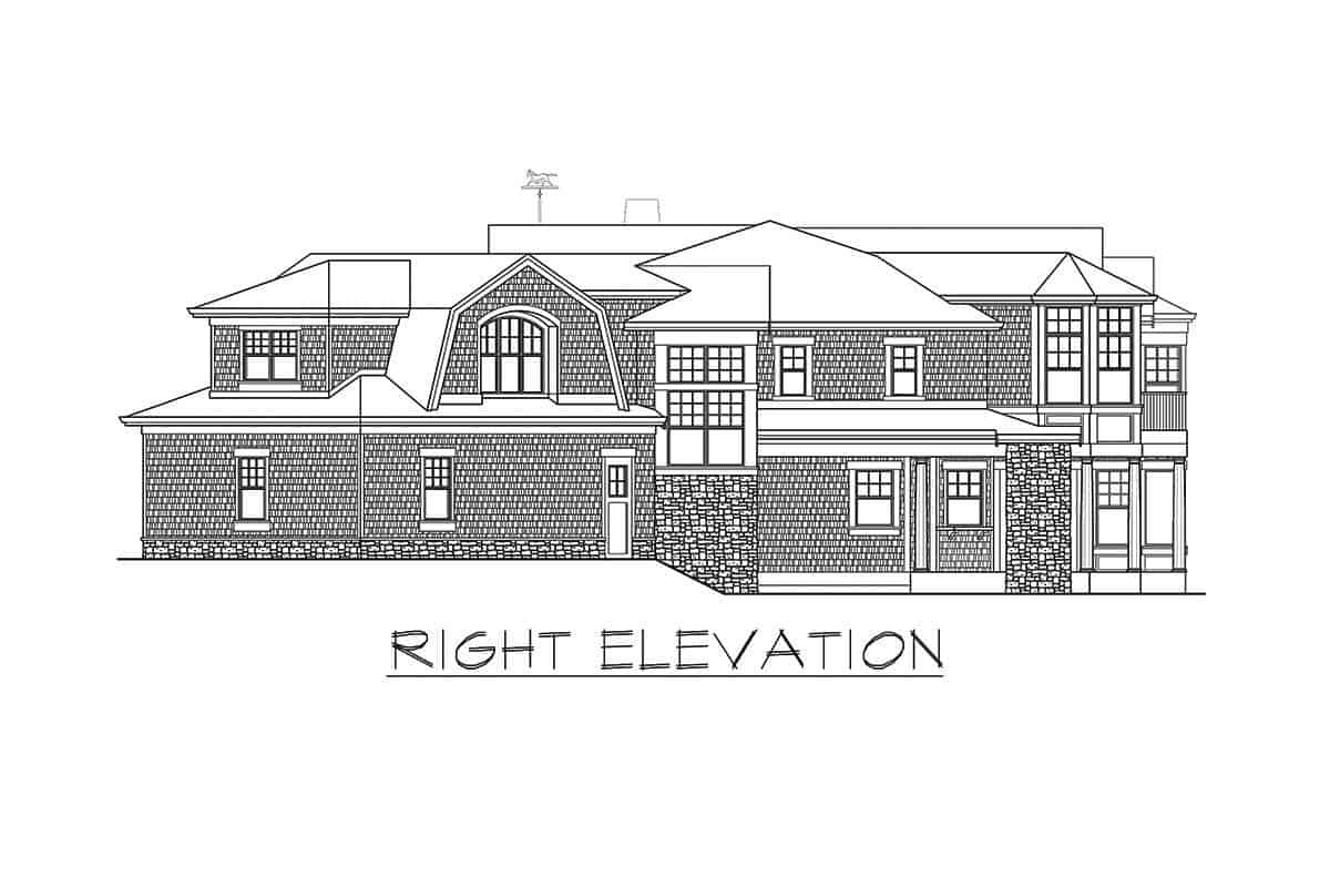 Right elevation sketch of the two-story shingle style home.