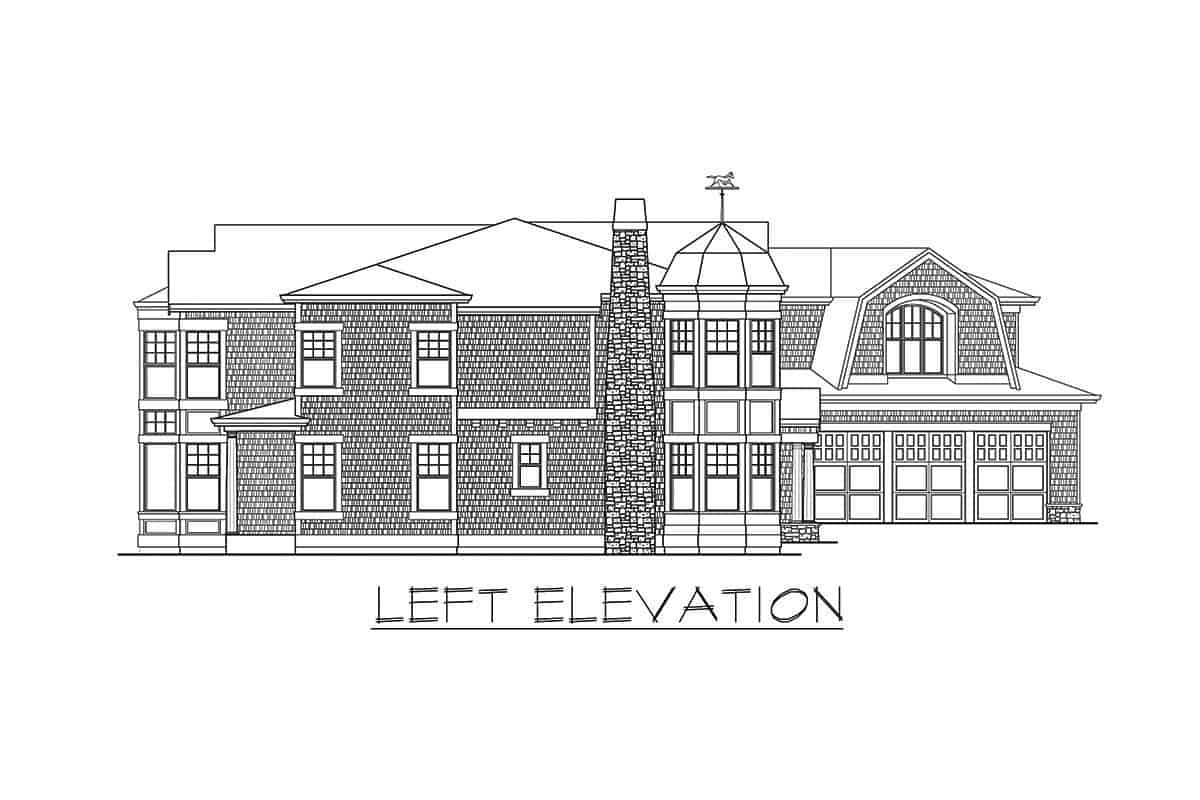Left elevation sketch of the two-story shingle style home.