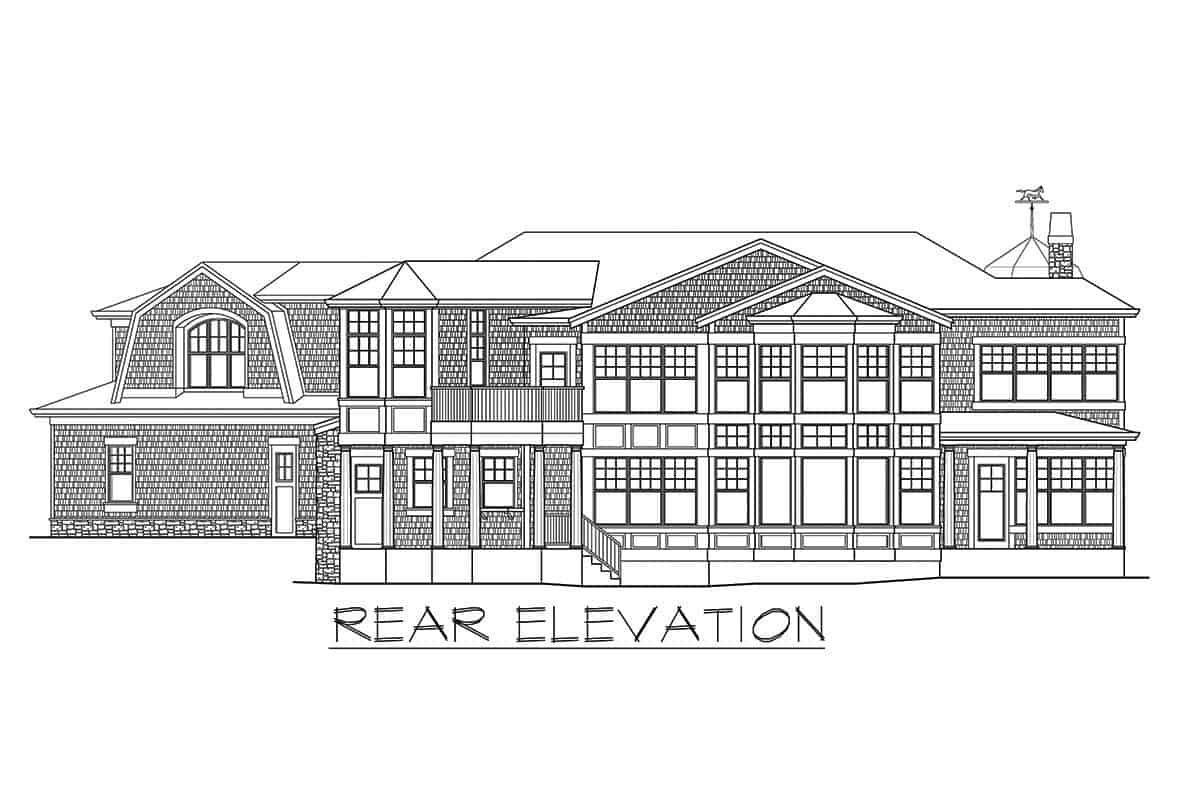 Rear elevation sketch of the two-story shingle style home.