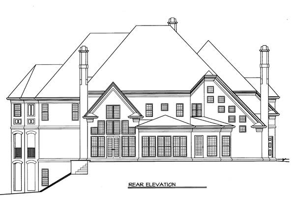 Rear elevation sketch of the two-story Amboise home.