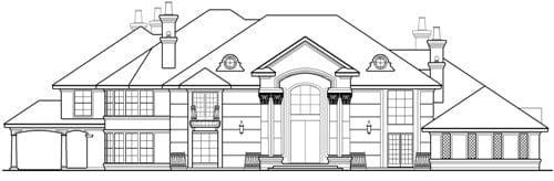 Front elevation sketch of the two-story Casa Bella.