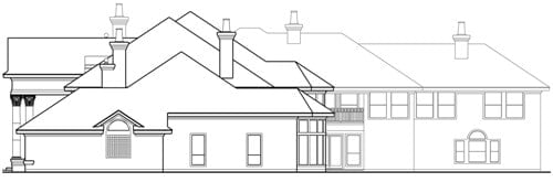 Right elevation sketch of the two-story Casa Bella.