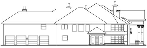 Left elevation sketch of the two-story Casa Bella.