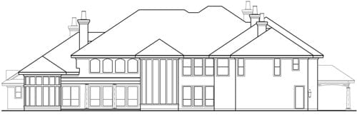 Rear elevation sketch of the two-story Casa Bella.