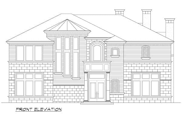 Front elevation sketch of the two-story Hollywood Hills European home.