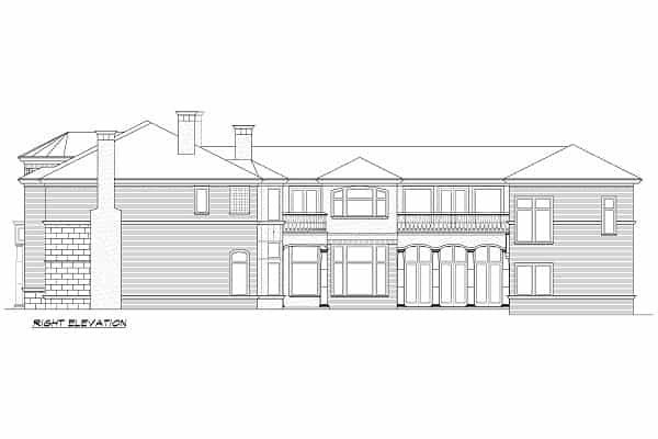 Right elevation sketch of the two-story Hollywood Hills European home.