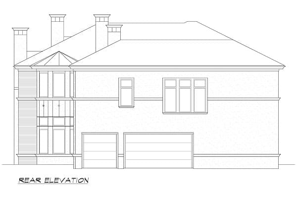 Rear elevation sketch of the two-story Hollywood Hills European home.