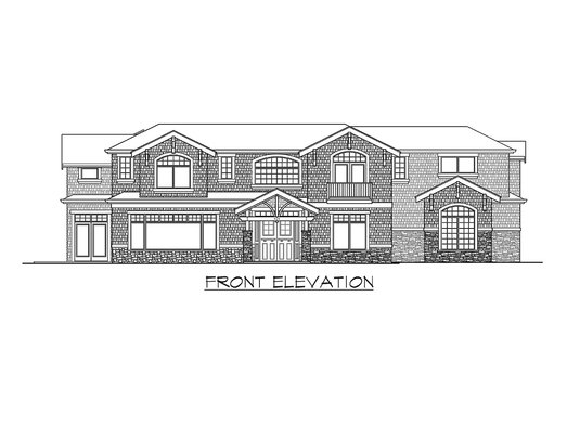 Front elevation sketch of the two-story Meydenbauer home.