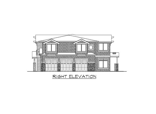 Right elevation sketch of the two-story Meydenbauer home.