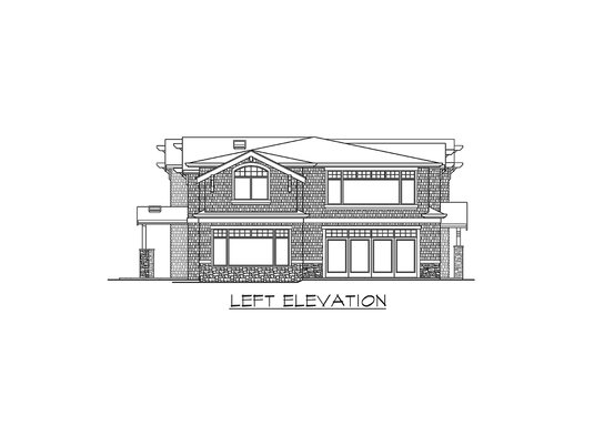Left elevation sketch of the two-story Meydenbauer home.