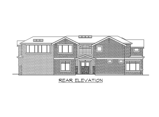Rear elevation sketch of the two-story Meydenbauer home.
