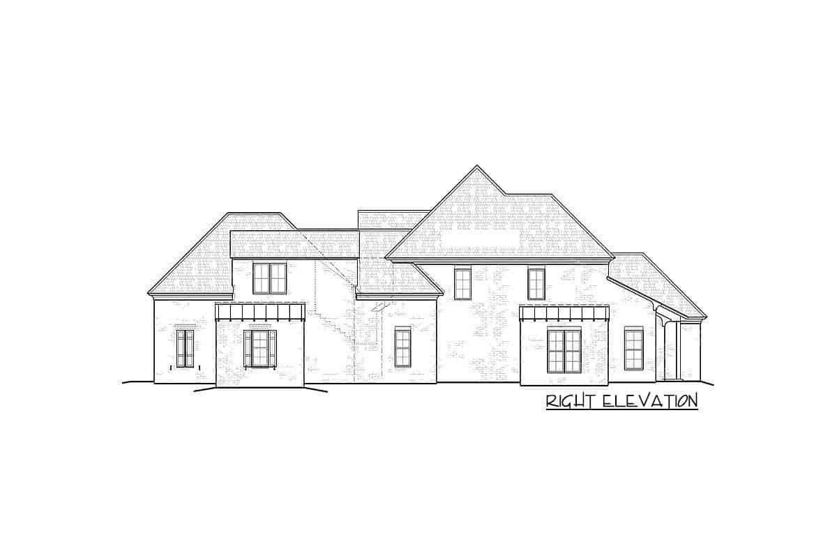Right elevation sketch of the two-story Southern home.