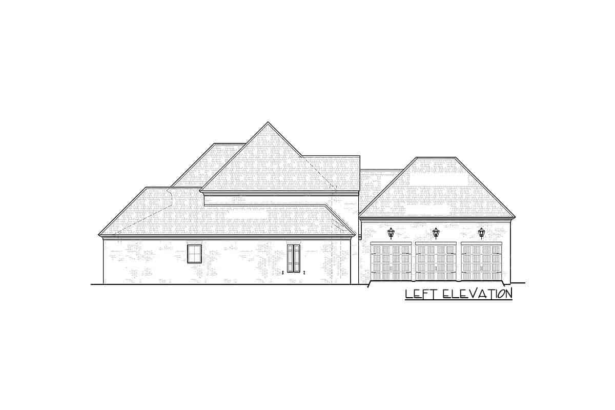 Left elevation sketch of the two-story Southern home.