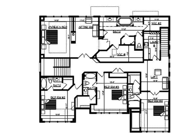 Upper level floor plan with laundry area, three bedrooms, and a primary suite with its own sitting room.