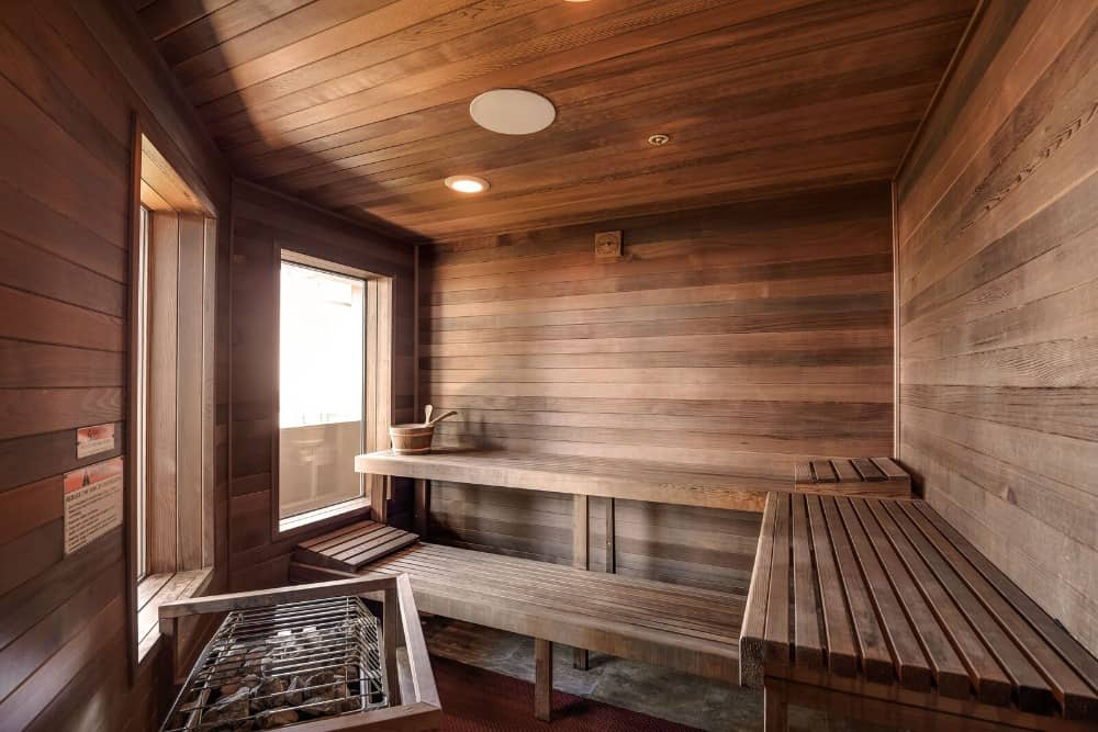 Here's the sauna room of the house, featuring a pair of glass windows. Images courtesy of Toptenrealestatedeals.com.