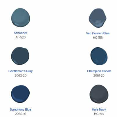 Options for blue paint colors