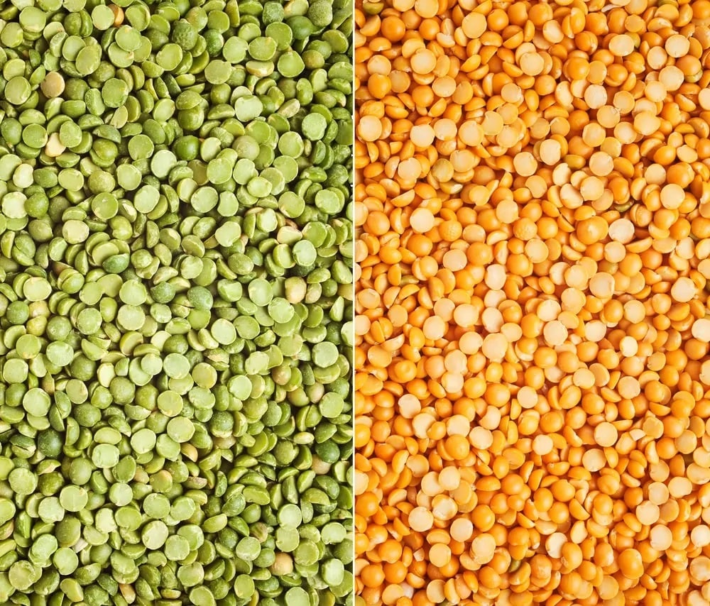 A close look at green and yellow split peas.