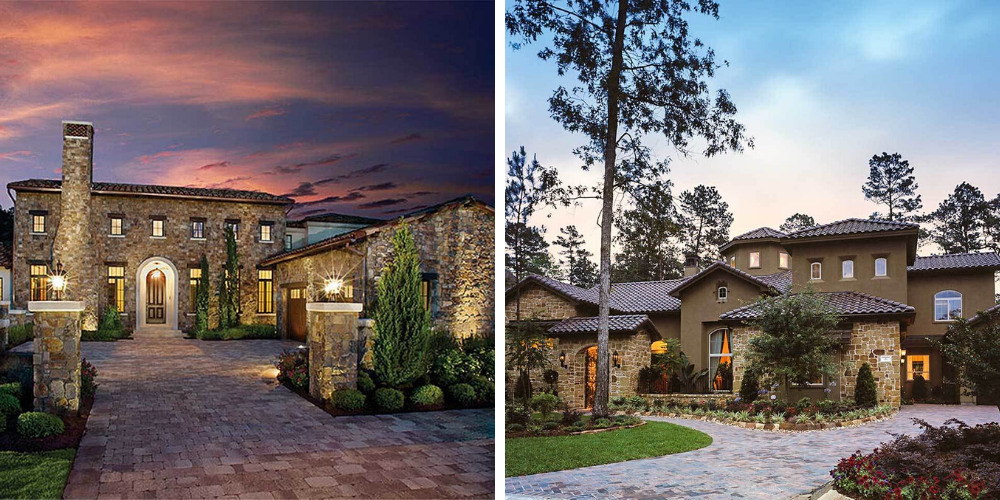 2 Tuscan style house exteriors - one a stone framhouse, the other a more contemporary style with stucco.
