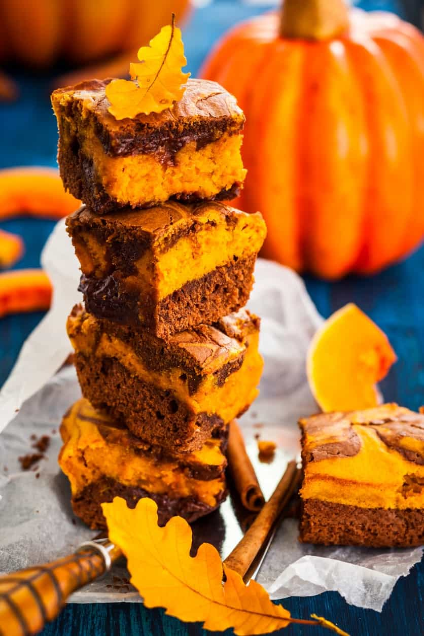 Butternut brownies stacked on top of each other