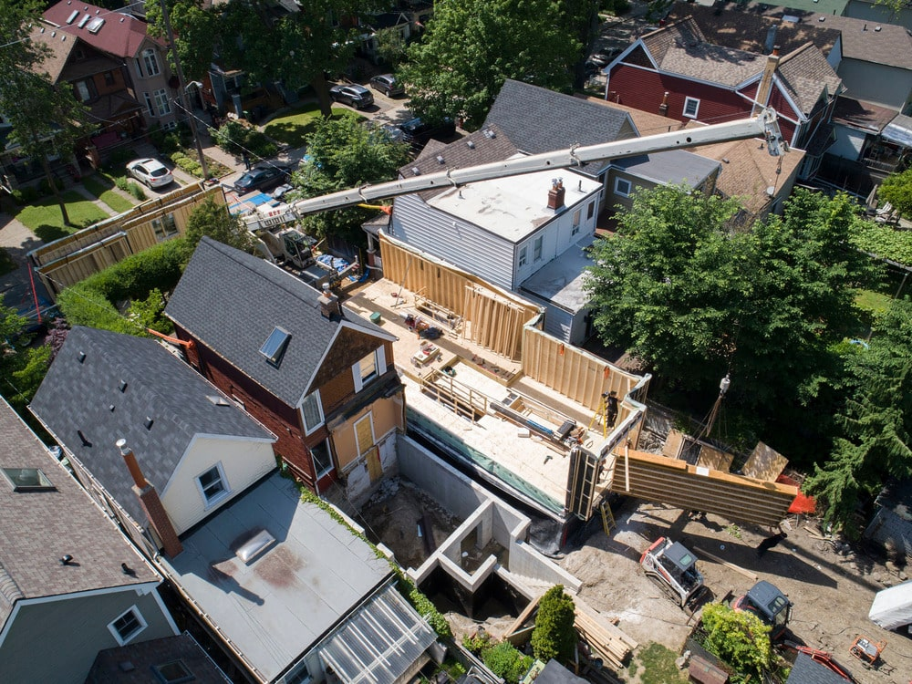This is an aerial view of the house as it is being constructed.