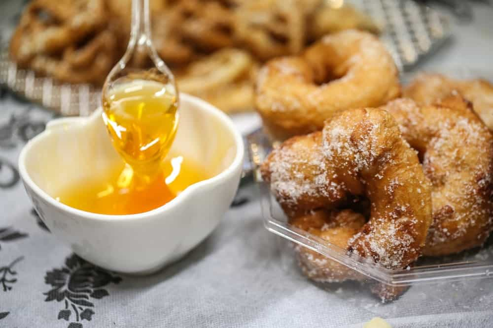 Moroccan donuts with a dip of honey.