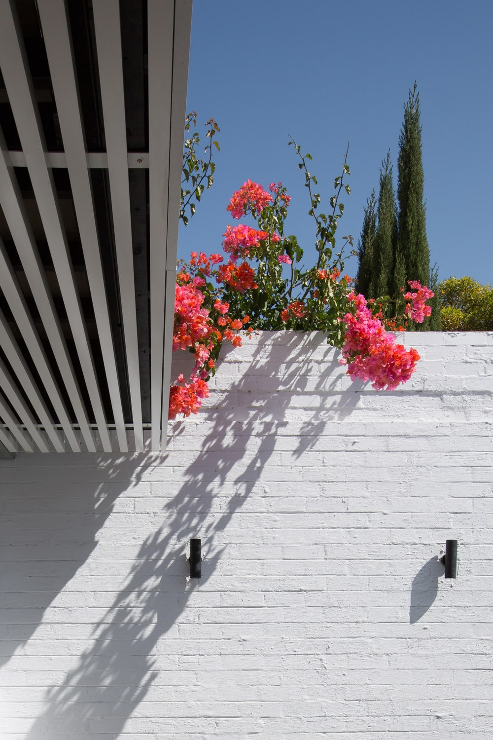 This is a look at the white brick wall of the patio just outside the living room. It is adorned with lovely colorful flowers and a couple of outdoor modern lighting.