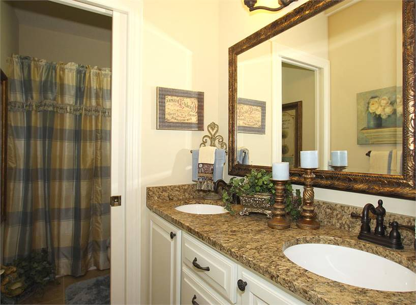 This bathroom has a dual sink vanity and a shower area covered in a checkered curtain.