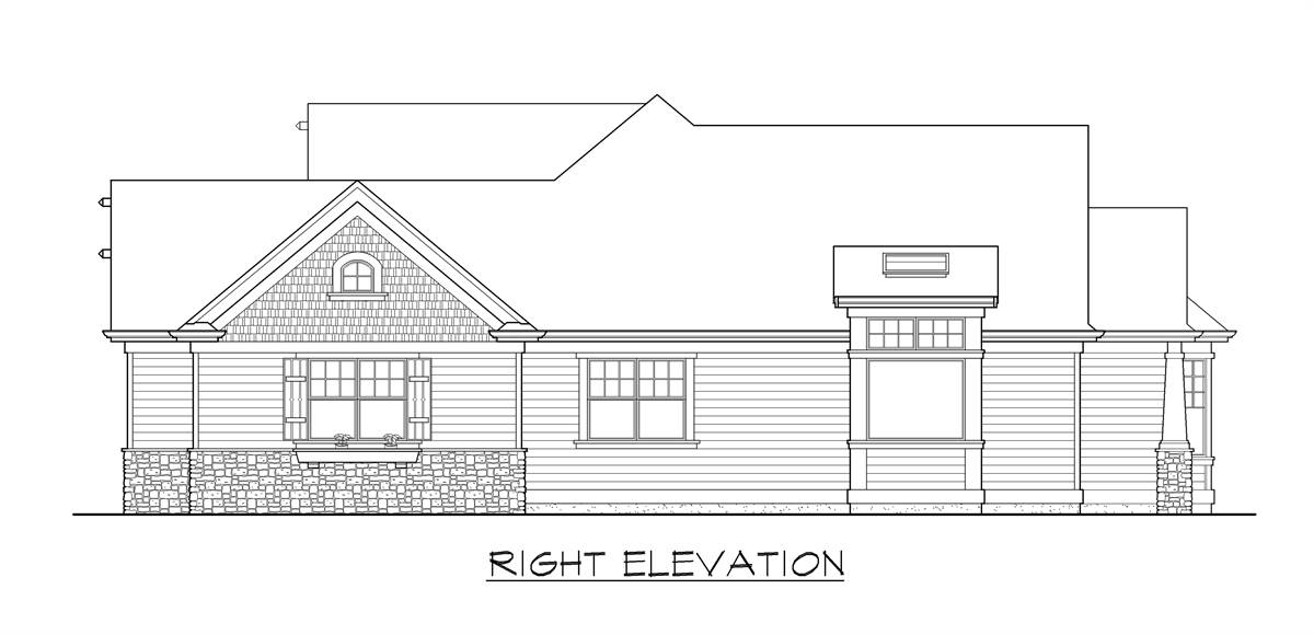 Right elevation sketch of the single-story craftsman style home.