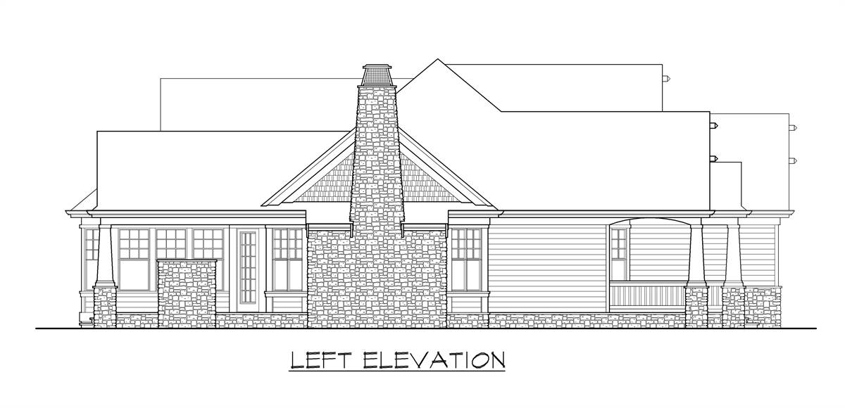 Left elevation sketch of the single-story craftsman style home.